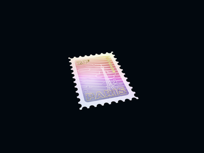 Holo Stamp - Warmup #1 paris stamp octane 3d animation render webdesign warmup holographic 3d