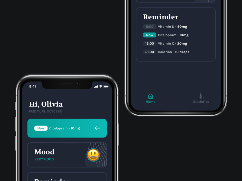 Dark Mode Exploration ux design mobile tracker dark mode mood ui app