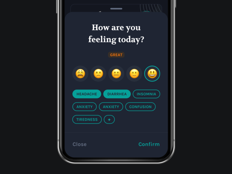 Dark Mode Exploration bottom sheet mobile app ux dark mode mood tracker ui app