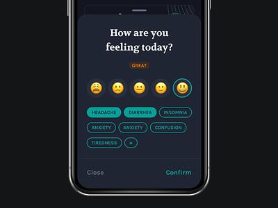Dark Mode Exploration bottom sheet mobile app ux dark mode mood tracker ui app