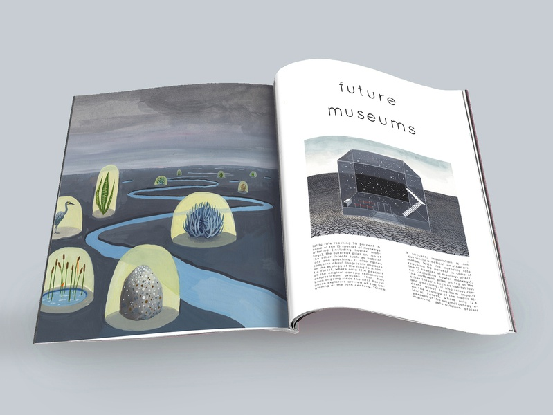 Future Museums magazine layout illustration editorial book design