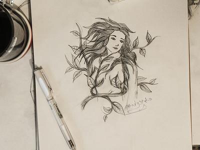 The Wood Queen wood queen girl art drawing