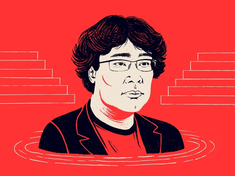 Bong Joon Ho - Parasite director stairs illustration face celebrity person portrait oscars bong joon ho korean south korea film parasite movie