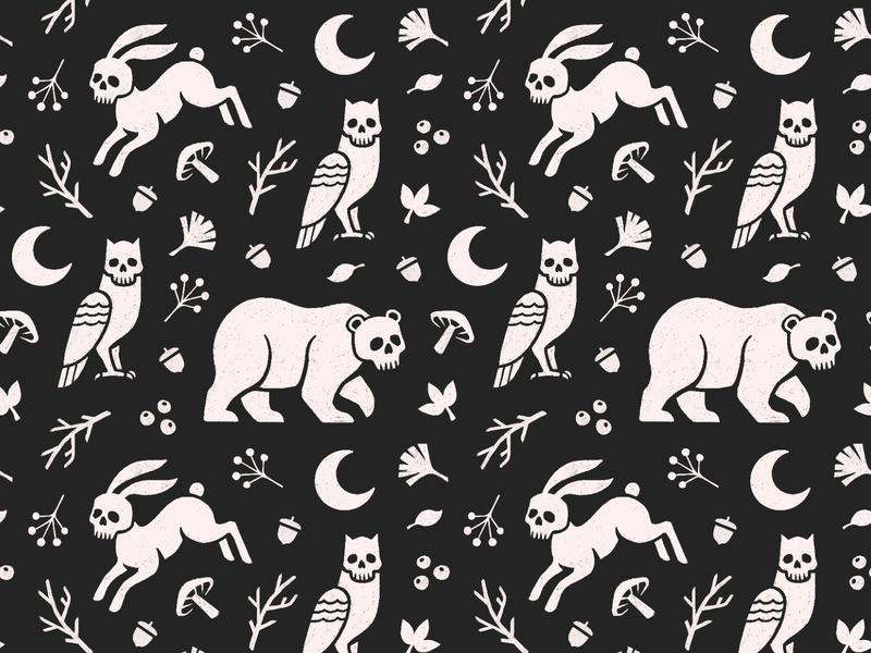 Skull Animal Pattern seamless fauna wildlife leaves nature forest bunny rabbit owl bear illustration animal goth skull fabric textile pattern