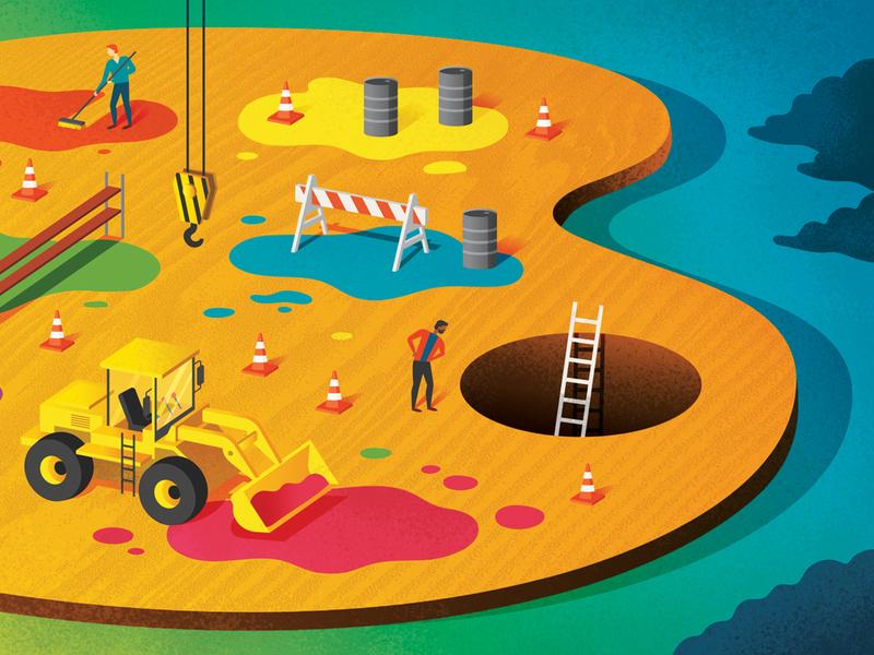 Amon Carter Magazine Feb 2020 Editorial Illustration crane fort worth paint artist palette palette construction art museum magazine publication editorial illustration