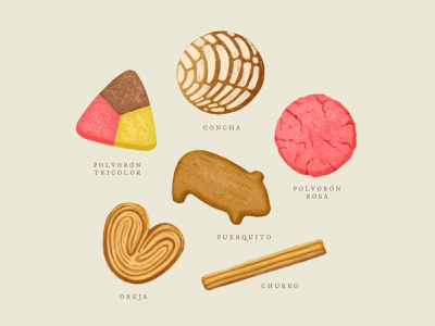 Pan Dulce illustration pig puerquito pan sweets cookies churro polvorones concha mexican mexico food dessert pastry bread bakery baker sweet bread pan dulce