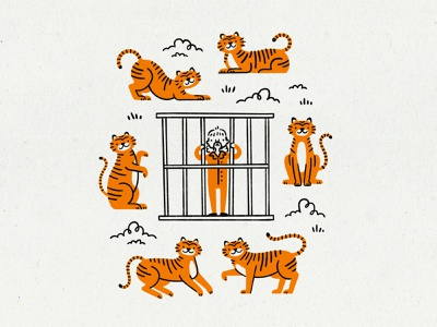 Tiger King animals zoo criminal prison orange tigers illustration netflix big cat cat tiger oklahoma joe exotic tiger king