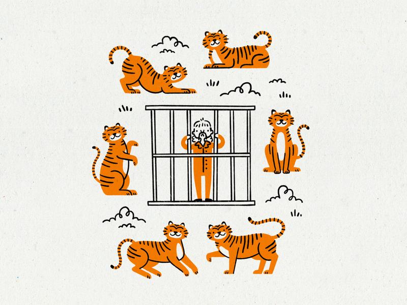Tiger King animals zoo criminal prison orange tigers illustration netflix big cat cat tiger oklahoma joe exotic tiger king