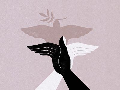 BLM unity bird illustration humanity humans hands justice peace dove hope blm blacklivesmatter