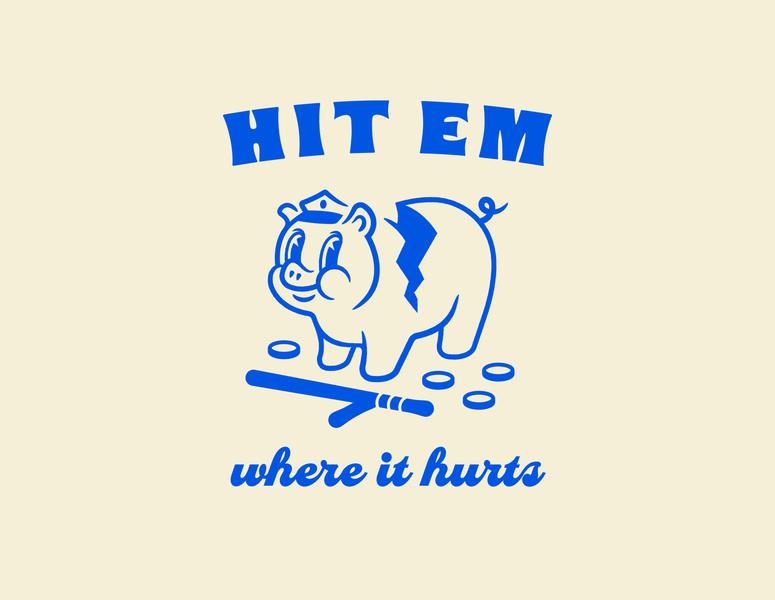 Hit em where it hurts animal illustration black lives matter blm fundraiser shirt baton piggy pig blue defund the police police cops