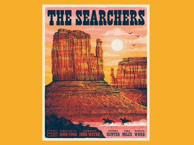 Texas Forever Project - The Searchers illustration monument valley mesas canyons mountains landscape cowboys the searchers poster movie poster movie western western movie texan texas texas forever project