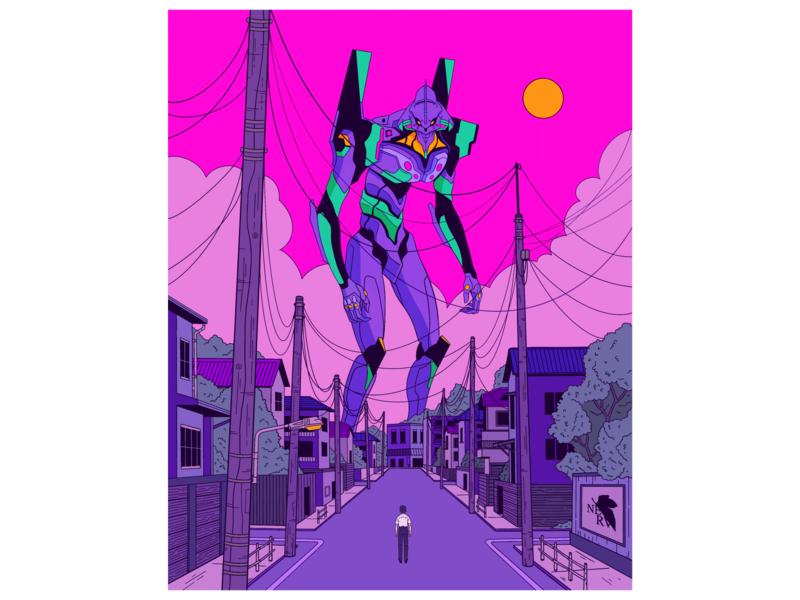 Neon Genesis Evangelion eva evangelion netflix anime gundam robot poster illustration nge neon genesis evangelion neon genesis neon