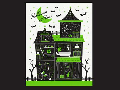 Halloween At Home pumpkin witch 2020 quarantine covid illustration poster vector home house bats skeleton retro haunted house frankenstein werewolf vampire ghost spooky halloween