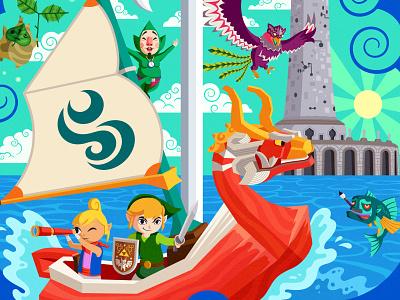 Detail Shot: Wind Waker poster illustration boat fish ocean video game nintendo ganondorf hyrule link gamecube zelda legend of zelda wind waker windwaker