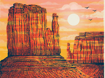 Detail Shot: Texas Forever Project - The Searchers texan texas western movie poster cowboys the searchers landscape mountains mesas monument valley canyons illustration