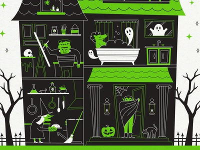 Detail Shot: Halloween at Home skeleton bats monster monsters spooky home mansion haunted house vampire frankenstein illustration poster halloween 2020 2020 quarantine covid halloween witch