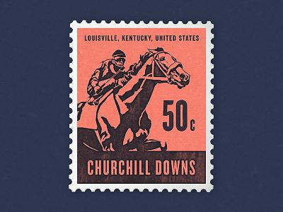 Kentucky Derby Stamp illustration postage stamp horse race jockey churchill downs kentucky derby horse derby letter mail stamp postage