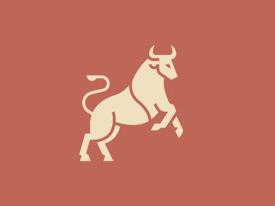 Rearing Bull Logo rearing tail cow meat steer ox cattle animal logomark logo bull