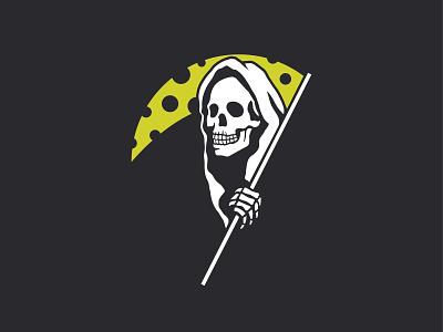 Cheese Reaper grim reaper death charity food bank dairy bones food cheese scythe concert rock music rock skeleton skull reaper