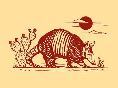 Texas Armadillo houston austin illustration western country texan animal desert cactus procreate texas armadillo