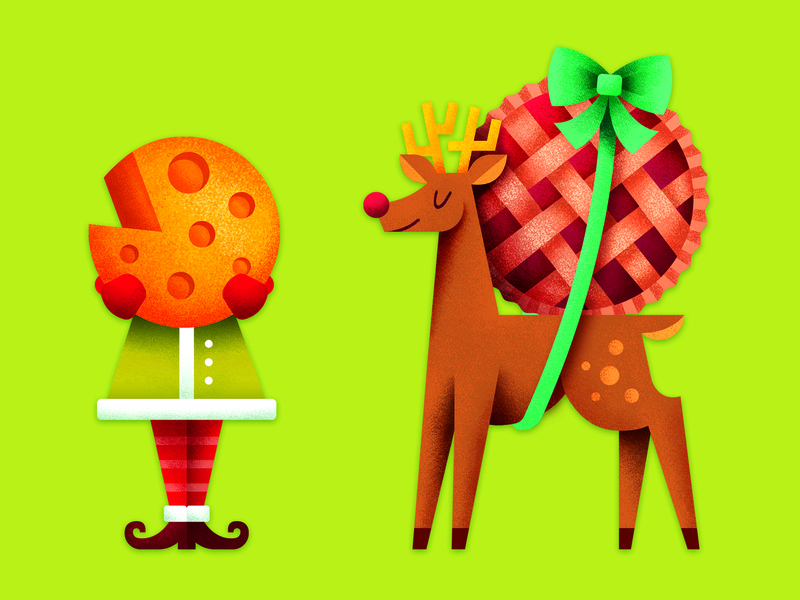 Holiday Posters food deer rudolph ribbon present gift cheese reindeer elf christmas holiday ornament poster