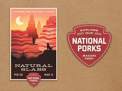 National Porks Bacon Festival national park canyon landscape outdoors badge pig bacon supermarket food grocery central market poster illustration