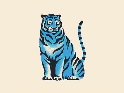 Tiger ink blue tiger feline cat drawing procreate animal illustration
