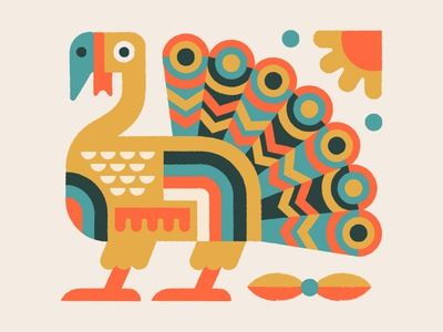 Turkey Day animal vector illustration geometric leaves autumn bird fall turkey thanksgiving