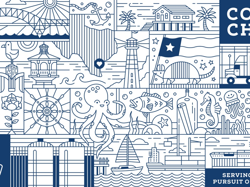 Andrews Coloring Canvas - Corpus Christi drinks boat anchor lighthouse texas armadillo wall mural octopus sea life ocean fish corpus christi truck illustration beer monoline linear coloring book