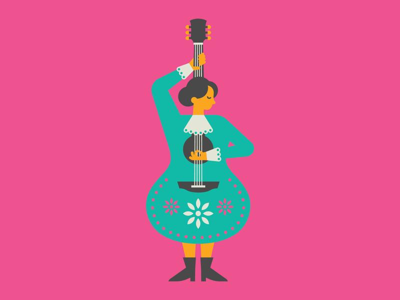 American Mariachi Concept Art body figure female woman music musician guitar theatre theater play musical mexican mexico papel picado mariachi