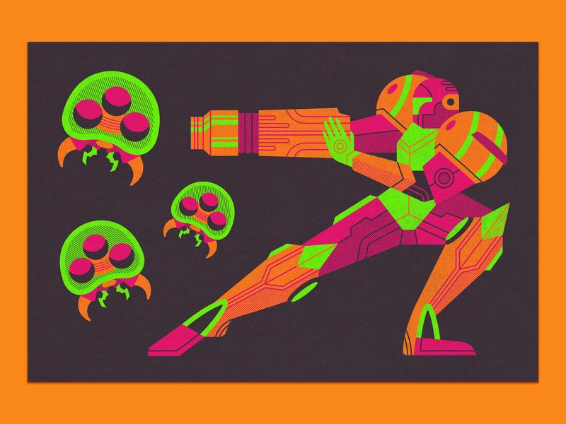 Samus Aran Poster alien space poster illustration samus aran metroid prime video game nintendo metroid samus