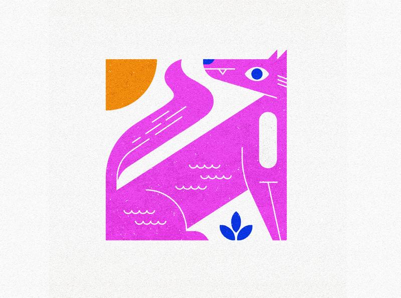 Pink Wolf vector sun plant canine illustration geometric animal dog wolf