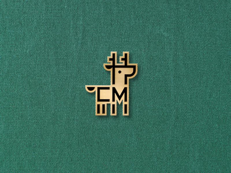 Personal Logo Enamel Pin animal monogram initials gold branding personal logo mark deer logomark logo pin enamel pin enamel