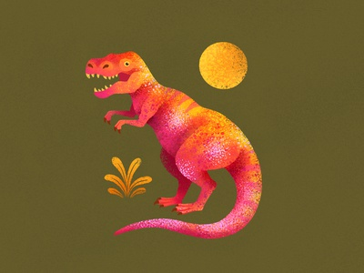 T Rex plant dino illustration animal reptile jurassic prehistoric tyrannosaurus tyrannosaurus rex trex dinosaur