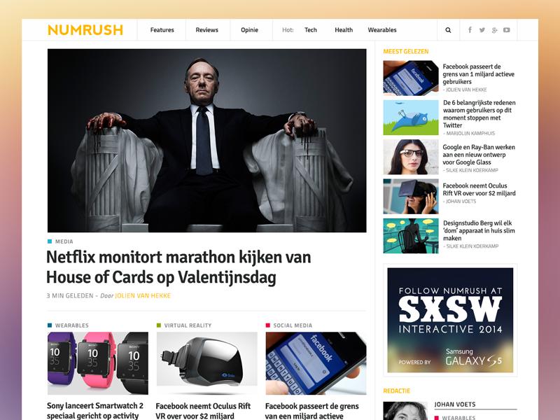 Numrush Homepage numrush blog website media wordpress tech site journalism technology responsive homepage news