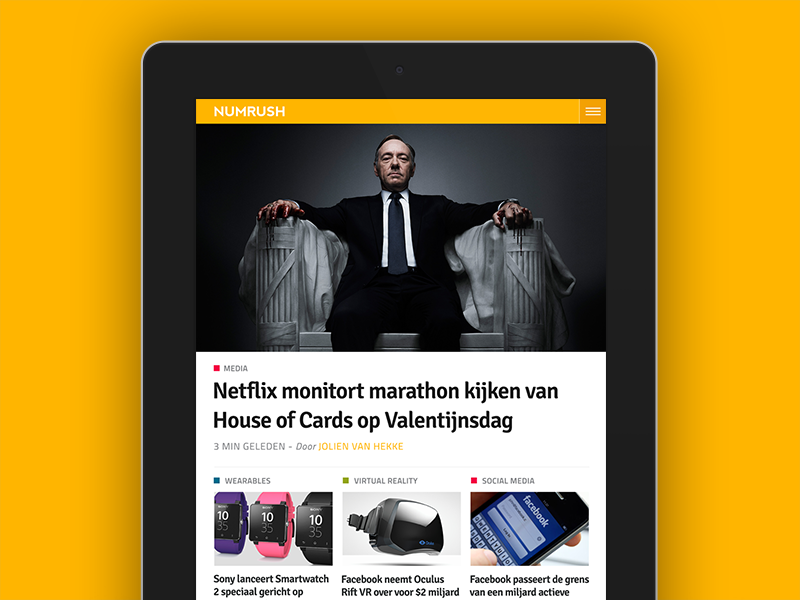 Numrush homepage on iPad numrush blog website wordpress tech site journalism technology responsive homepage mobile news tablet