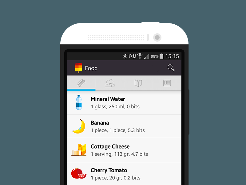 Foodzy for Android foodzy app android food icons vector nutrition fitness health