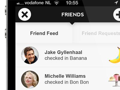 Friends page in new Foodzy app foodzy app ios black white grey avatars food icons