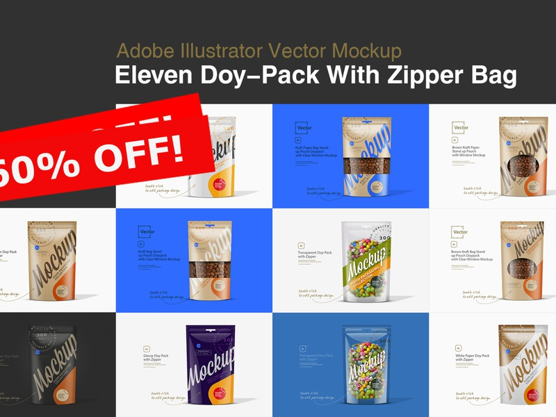 Eleven Doy Pack With Zipper Bag Mockup new mockup stand-up stand up pouch pouch paper pouch paper bag paper package pack kraft pouch kraft bag kraft food coffee bag coffee doypack bag