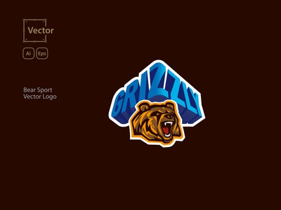 Bear Sport Vector Logo psd animal logo branding icon ux vector ui illustration template design logo