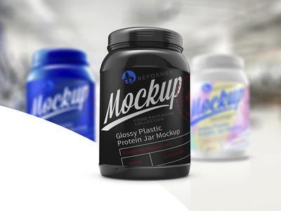 Glossy Plastic Protein Jar Poster Mockup