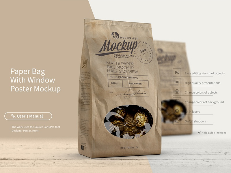Paper Bag With Window Poster Mockup wrapper stick sachet pouch packaging paper food bag packaging mockup package food foil coffee box bar bag