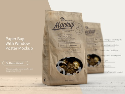 Paper Bag With Window Poster Mockup
