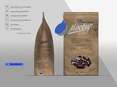 Kraft Paper Bag Mockup Left & Front Side View