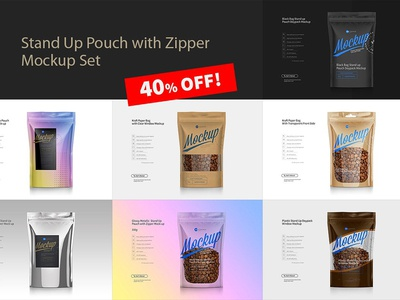 Stand Up Pouch Mockup Set / 40% OFF!