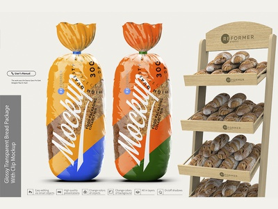 Glossy Transparent Bread Package with Clip Mockup wrap transparent plastic packet packaging package pack mockup healthy glossy food clip clear clean clamp cellophane breakfast bread bakery