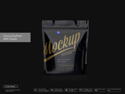 Glossy DoyPack with Zipper foil flex envelope eat dried fruit doypack doy design container coffee clear clean chemicals canned candy blank black bag aluminum advertising