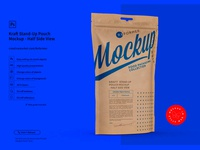 Kraft Paper Stand-Up Pouch Mockup Half Side View