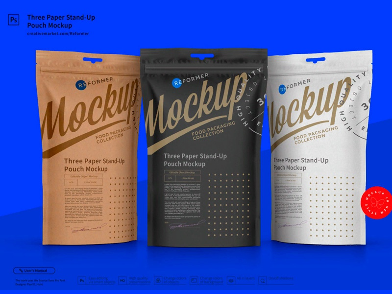 Three Paper Doy-Pack Pouch Mockup template screw product smart object packaging package psd object mockups mockup