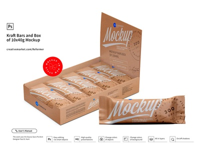 Kraft and Bars Box of 10x40g Mockup